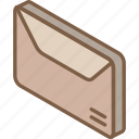 envelope, iso, isometric, mail, post icon