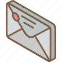 envelope, iso, isometric, mail, post, sealed