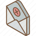 delete, iso, isometric, mail, post icon