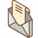 iso, isometric, mail, open, post icon