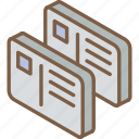 cards, iso, isometric, mail, post icon