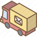 delvery, iso, isometric, mail, post, truck