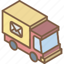 delivery, iso, isometric, mail, post, truck icon