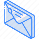 envelope, iso, isometric, mail, post, sealed