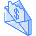 check, iso, isometric, mail, pay, post icon