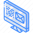 mail, post, iso, isometric, email