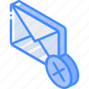 delete, iso, isometric, mail, post