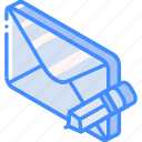 iso, isometric, mail, post, write icon