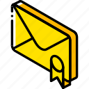 iso, isometric, mail, marked, post icon