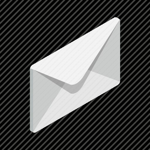 closed, design, element, envelope, isolated, isometric, letter icon