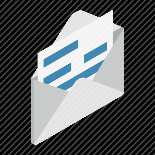 design, document, element, envelope, isolated, isometric, opened icon