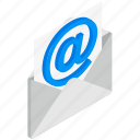 email, envelope, isolated, isometric, mail, mailing, opened icon