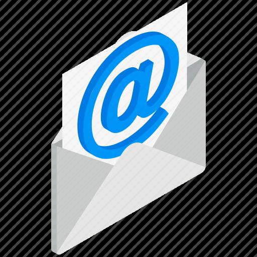 email, envelope, isolated, isometric, mail, mailing, opened icon