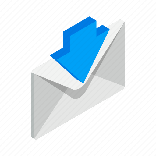 arrow, closed, down, element, envelope, isometric, mail icon