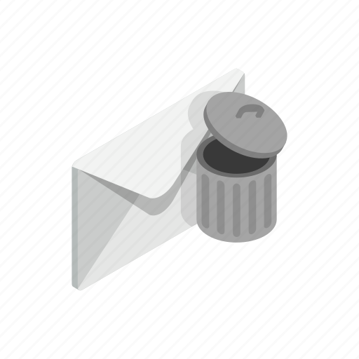 can, closed, element, envelope, isometric, mail, trash icon