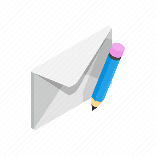 closed, element, envelope, isometric, mail, pencil, send icon
