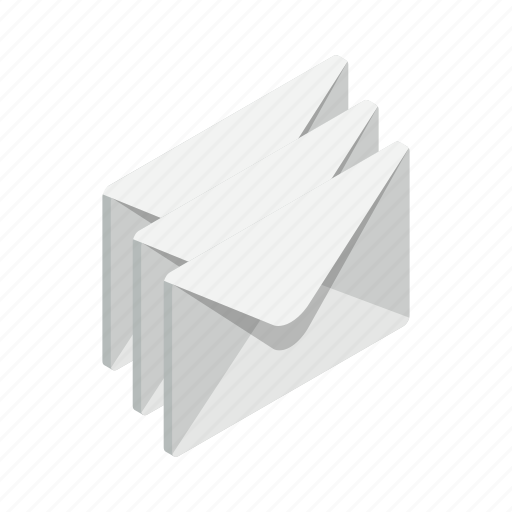 closed, design, element, envelope, isolated, isometric, three icon