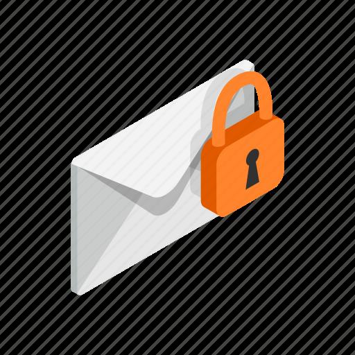 closed, design, element, envelope, isolated, isometric, lock icon