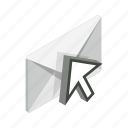 arrow, closed, element, envelope, isolated, isometric, mail icon