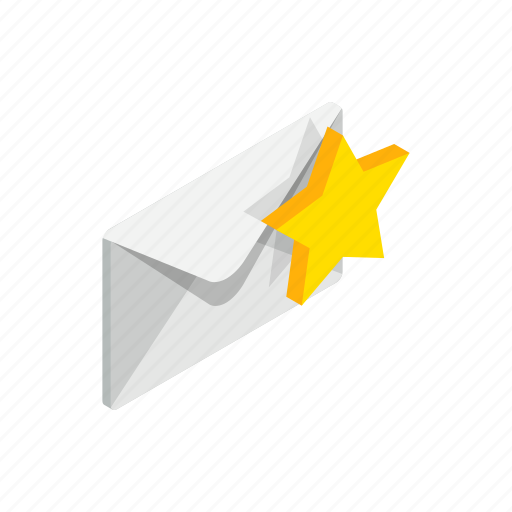 Closed, envelope, gold, isolated, isometric, message, star icon - Download on Iconfinder