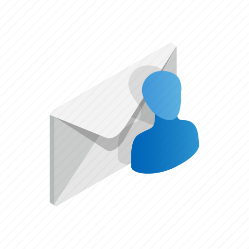 avatar, closed, email, envelope, isolated, isometric, recipient icon