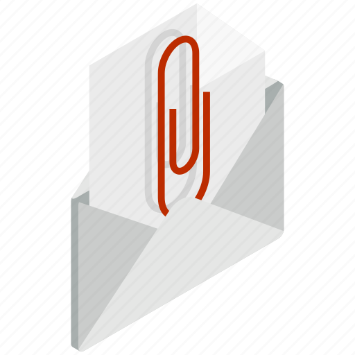 attached, design, document, element, envelope, isolated, isometric icon