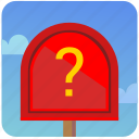 mail, mailbox, post, postbox, quest, question icon