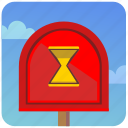 emails, loading, mailbox, pause, post, time, wait icon