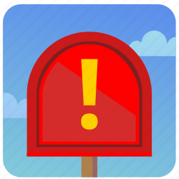attention, email, letter, post, virus, warning icon