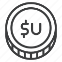 finance, peso, uruguayan, uyu icon
