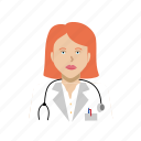 doctor, female, ginger, headshot, short hair, woman icon