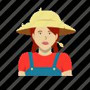 braids, farmer, female, girl, hat, headshot, outfit icon