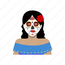 cultural, day of the death, female, headshot, mexican, outfit, traditional icon