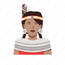 american, feather, female, headshot, native, outfit icon
