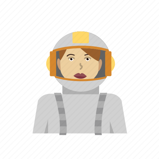astronaut, female, galaxy, headhsot, outfit, space icon