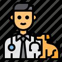 veterinarian, occupation, man, pet, avatar icon