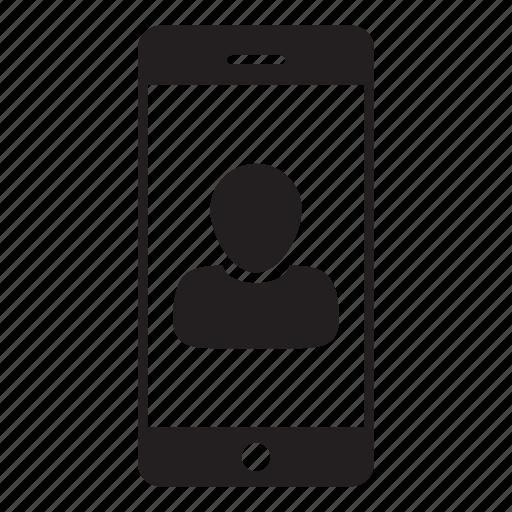 business, login, man, mobile, person, profile, user icon