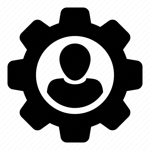 avatar, cog, gear, man, person, profile, settings icon