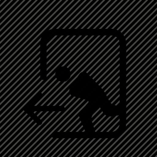 emergency, entrance, sign, symbols, wayfinding icon