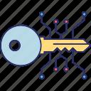 access key, cyber key, digital key, encryption key icon