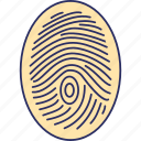 biometric identification, dactylogram, fingerprint, fingers identity icon