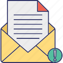 email virus, infected mail, junk mail, mail warning icon