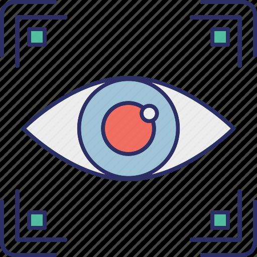 biometric access, biometric eye identification, biometry, eye authentication, eye recognition icon