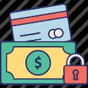 locked money, money protection, safe money, secure money icon