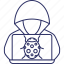 cybercriminal, hacker, hacker activity, hacktivist icon