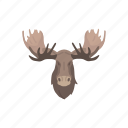 animal, bull moose, head, mammal, moose, moose antlers, moose head icon