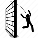 man, jumping, escape, over, jump, challenge, wall icon