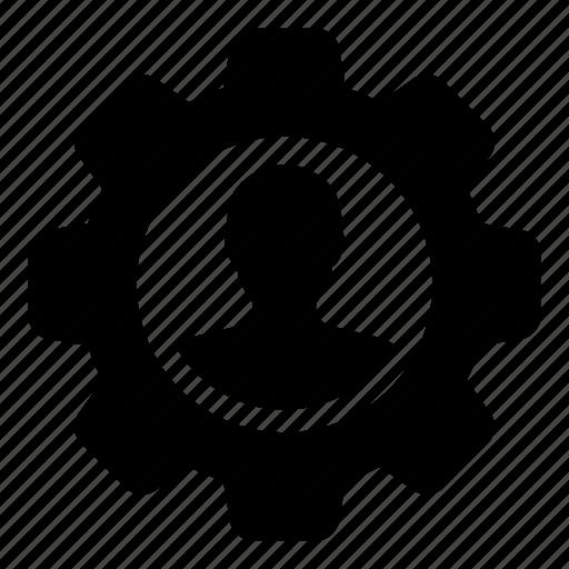 admin, automation, avatar, cog, gear, man, person icon