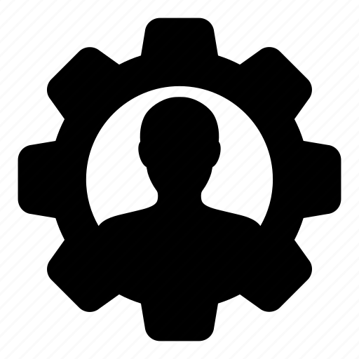 admin, automation, avatar, gear, office, person, settings icon