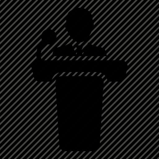 businessman, man, microphone, podium, presentation, public, speaker icon